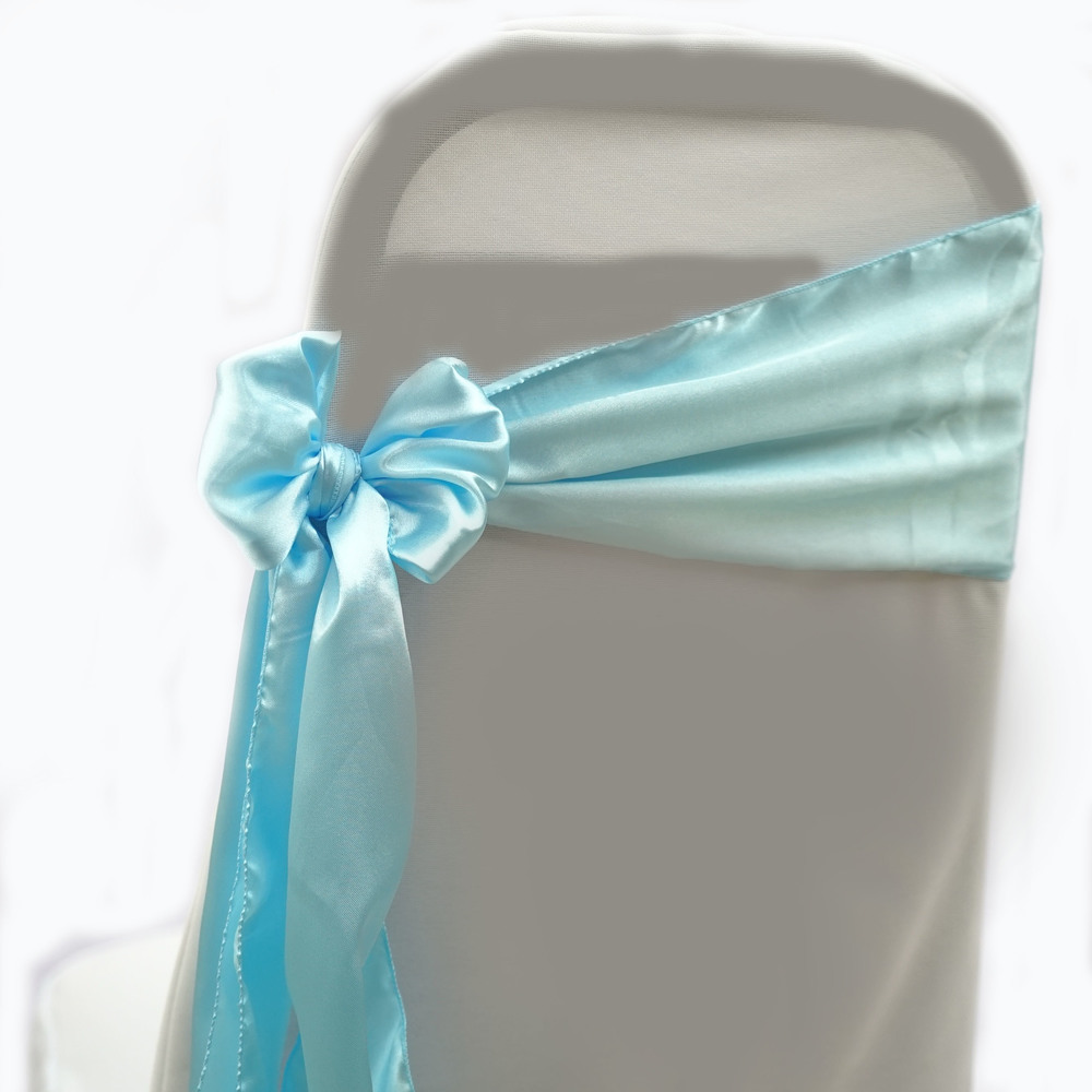 CHAIR SASHES (10pcs/QTY)   SATIN SASHES 27 BABY BLUE
